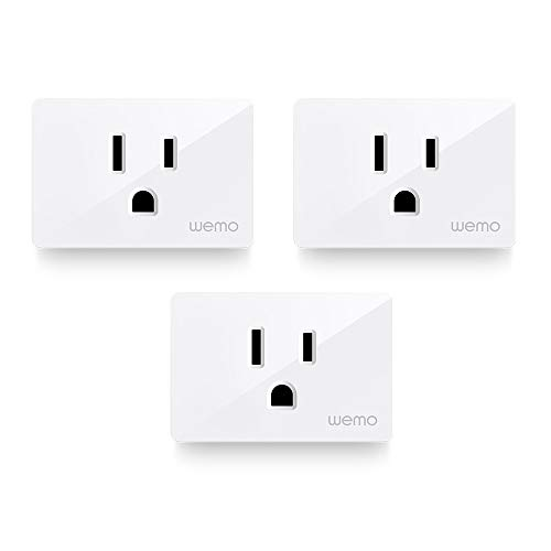 WeMo Smart Plug 3-Pack (Smart Outlet for Smart Home, Control Lights and Devices Remotely Works w/Alexa, Google Assistant, Apple HomeKit) WiFi Smart Plug (WSP080-BD3)