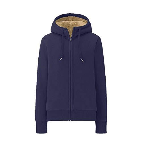 RYDRQF Sweat-Shirt à Capuche épaisse pour Femme avec Manches Longues et Semelle Chaude en Polaire XXXL Bleu Marine