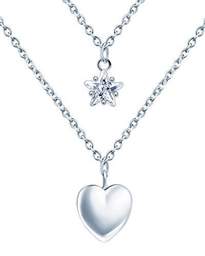 Infinite U - Collar de plata de ley 925 con diseño de estrella para mujer y niña, colgante de corazón brillante con doble cadena, circonita incrustada, plata