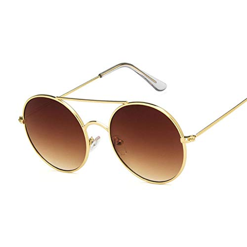 NJJX Gafas De Sol Redondas De Moda Para Mujer, Gafas De Sol De Círculo Vintage Para Mujer, Espejo De Océano Transparente, Metal Dorado, Marrón