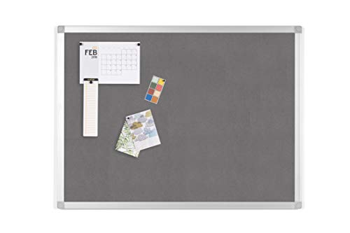 BoardsPlus - Pinnwand - 60 x 45 cm - Grauem Filztafel mit Aluminiumrahmen
