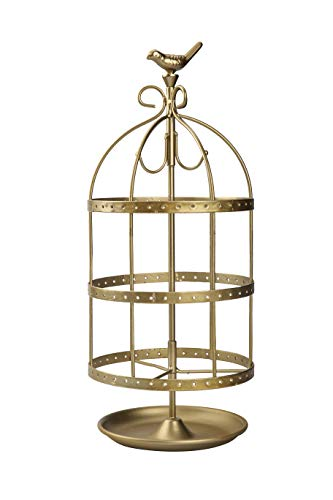"""14.5"""" Tall Cute Bird Cage 4 Tiers Rotating Jewelry Organizer Earring Holder Stand Earring Tree Tabletop Metal Display Rack for Women and Girl - Gold"""