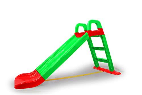 Jamara- Scivolo Funny Slide Verde – in plastica Robusta, Scarico Antiscivolo per atterraggio Delicato, Ampi gradini e Maniglie di Sicurezza, Corda stabilizzante, Colore, 460502