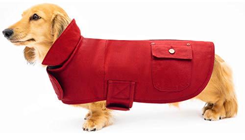 Geyecete Martin - Cappotto termico a bassotto, per cani da esterni, con fasce regolabili, colore: rosso