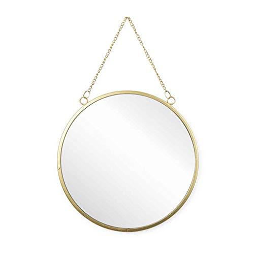 Black Velvet Studio Runder dekorativer WandWandspiegel Mirror, natürlicher Rattanspiegel, Boho chic, ethnisch, nordisch, für Bad oder Eingangshalle, Metall, Farbe golden, 26x30x1 cm.