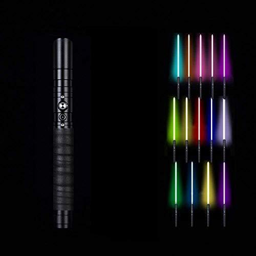 BoMan Lightsaber of Metal Hilt 11 Color RGB Laser Cosplay Toy Luz Luminosa Al Aire Libre Creative Wars Force Fx Lightsaber Light y Blaster Sound, Regalo para niños y Adultos,Negro