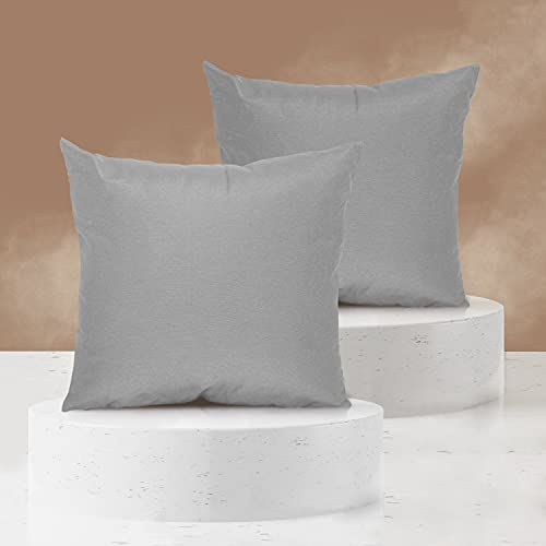 Viste tu hogar Pack 2 Fundas de Cojin sin Volante 60x60 cm, Algodón y Poliéster, para Decoración de Hogar en Color Gris Liso.