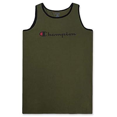 Champion Mens Big and Tall Swim Tank with Script Logo Olive/Black 5X