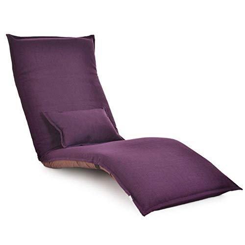 Faules Sofa Einfacher Sitzsack Einzel Boden Klappbare Schlafsofa Und Bequeme Stühle Verstellbare Rückenlehne Lehnstuhl Siesta 5-Gang-Einstellung mwsoz (Color : Purple)