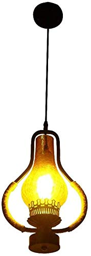LI Xiang Weinlese-Leuchter, Industrie Eisenhanfseil hängende Lampen-Bar Coffee Loft Glaswasc Petroleumlampe Dekoration Deckenleuchte Edison-Glühlampe E27, for Restaurant, Küche, Schaufens