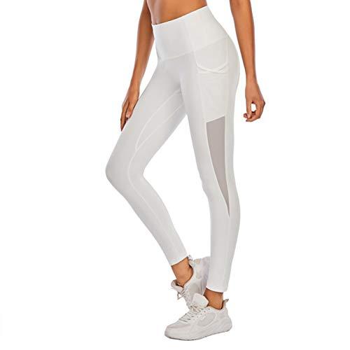 Werstand Pantalones de Yoga de Cintura Alta para Mujeres a Prueba de Sentadillas para Entrenamiento para Correr Pantalones de Yoga para Mujeres con Bolsillos Laterales Leggings de Yoga para Clever