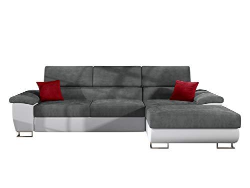 Mirjan24 Ecksofa Cotere Mini, Eckcouch Sofa Couch mit Schlaffunktion und Bettkasten L-Sofa Wohnlandschaft vom Hersteller, Polsterecke Farbauswahl (Soft 017 + Mono 245 + Solo 256, Seite: Rechts)