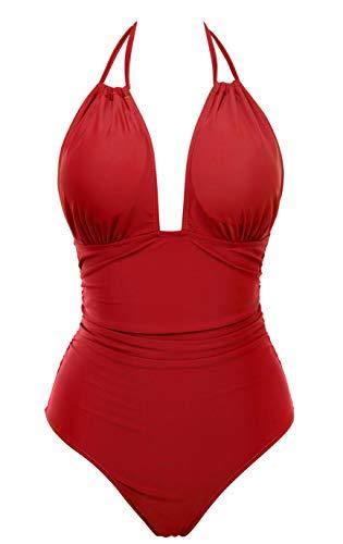Eomenie Women's One Piece Swimsuit Tummy Control Plus Size Swimwear Halter Bathing Suit Red
