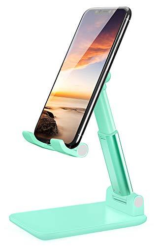 LOBKIN Soporte Tablet Móvil, Soporte Tablet Mesa Ajustable Multiángulo, Soporte para Tableta Plegable Portátil, Compatible con Móvil, Tablet, Kindle, Switch y Otros Dispositivos Menos (Verde)