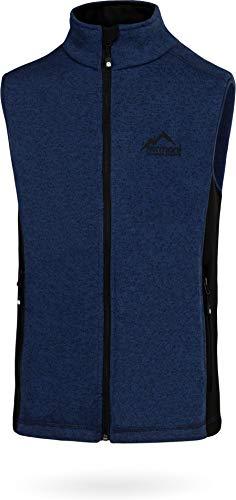 normani Herren Fleeceweste mit Reißverschlusstaschen und Stehkragen - warm, leicht 280 g/m² - ZIP-T3K System Farbe Strick-Navy Größe L