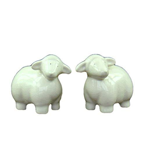 Adornos para estatuas Esculturas Estatuilla Adornos para estatuas de Animales Porcelana esmaltada Crepitante Amantes de Las ovejas Miniaturas Cerámica Hecha a Mano Figuras de Cordero Año de