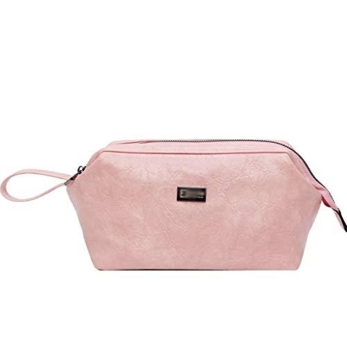 Kiki Maquillage rétro Sac Organisateur cosmétiques Maquillage Petit Portable Pouch Holder PU Housse en Cuir avec poignée de Transport for Voyage (Color : Pink)