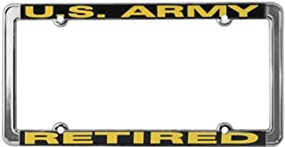 TAG FRAMES (MILITARY) U.S. Army Retired Thin Rim License Plate Frame (Chrome Metal)
