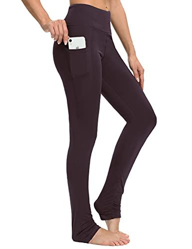 SEVEGO Leggings de Yoga Extra Largos para Mujer con Bolsillos sobre el Talón Legging Apilado Barre Dance Athletic Workout Pants