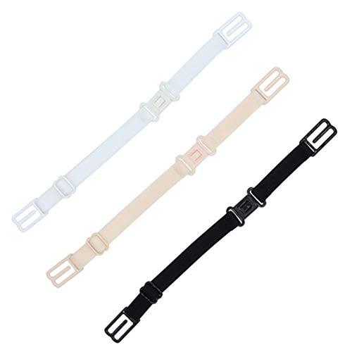 3 Pieces Women's Non-Slip Elastic Adjustable Bra Strap Holder (Black, Beige, White)