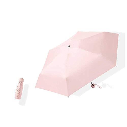 Axb Mini Travel Sun & Rain Paraguas, paraguas portátil a prueba de viento ligero, parasol compacto con 98% de protección UV para mujeres y hombres,Rosado