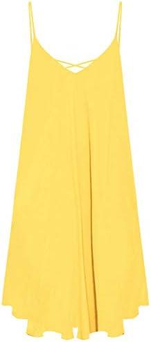 ROMWE Women s Summer Spaghetti Strap Sundress Sleeveless Beach Slip Dress Yellow XL product image