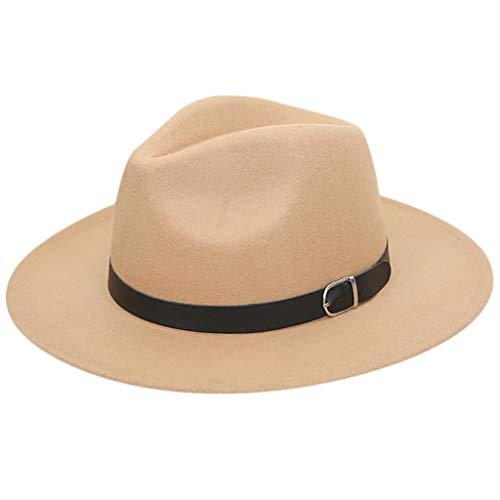 Classic Fedora Hats for Women Wide Brim with Belt ,MONISE Vintage Fedora Hat Cap
