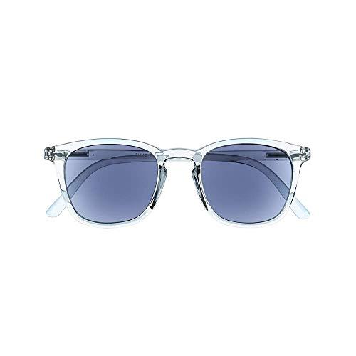 Unisex Sonnenbrille mit Sehstärke – Rechteckige Gläser – Sonnen Leser mit Moderner Cristal Fassung - UV400 Schutz - +1,50 Dioptrie – Für Damen und Herren – Grau Transparent - Silac - Sol Cristal 7551