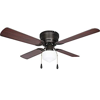 Oil-Rubbed Bronze 42 inch Ceiling Fan with Light, 3 Speed Ceiling Fan with Reversible Blades for Living Room, Bedroom, Basement, Kitchen, Garage