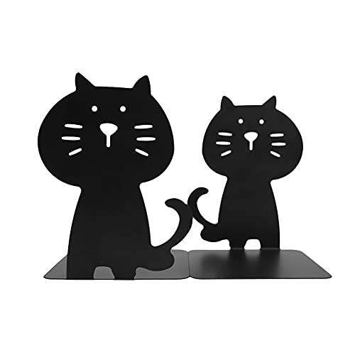 Katzen-Buchstützen, niedlich und dick, Metall, stabil, langlebig, Buch-Organizer für Bibliothek, Schule, Büro, Zuhause, Studium, 1 Paar