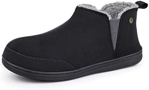 HomeTop Soft Microsuede Sherpa Lined House Shoes Anti Skid Indoor Outdoor Boot Slipper for Men product image