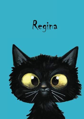 Regina: Personalisiertes Notizbuch, DIN A5, 80 blanko Seiten mit kleiner Katze auf jeder rechten unteren Seite. Durch Vornamen auf dem Cover, eine ... Coverfinish. Über 2500 Namen bereits verf