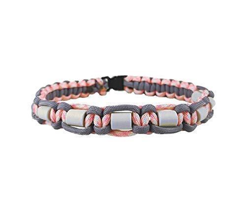 EM-Keramik Halsband für Hunde, mit Name möglich, verschiedene Größen wählbar, original EM-X-Keramik-Pipes, lilagrau/rosa-weiß-gemustert