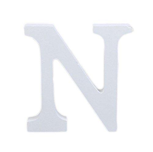 Décorations Fablcrew en forme de lettres de l'alphabet - En bois - Style moderne - Pour décoration intérieure, d'une chambre, pour un mariage - Blanc, Bois dense, N, 8*7*1.2cm