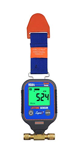 """Supco VG64 Vacuum Gauge, Digital Display, 0-12000 microns Range, 10% Accuracy, 1/4"""" Male Flare Fitting Connection , Grey"""