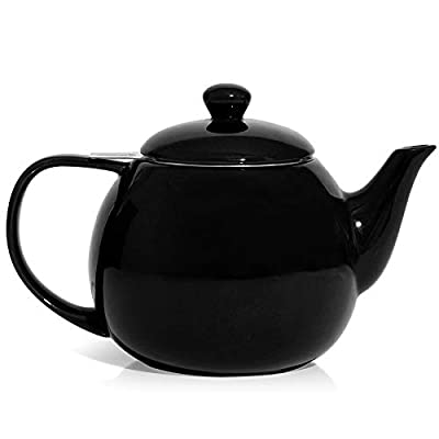 Sweese 221.112 Teapot, Porcelain Tea Pot with Stainless Steel Infuser, Blooming & Loose Leaf Teapot - 27 ounce, Black