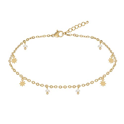 Siloé Anklet with Star and Cultured Pearls Gold