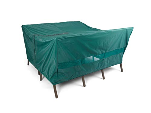 Covermates Square Dining Table/Chair Set Cover - Light Weight Material, Weather Resistant, Elastic Hem, Center Hole for Umbrella, Patio Table Covers-Green