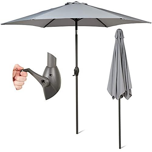 SUNMER Grey Parasol 2.7M Garden Umbrella Sun Shading | Crank Mechanism | Polyester 180 g/m² (UV 30+) |Pole Width ø 38 mm (Excl. Base)