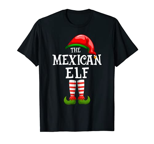 La familia de elfos mexicanos a juego con el grupo de Navidad, pijama Camiseta