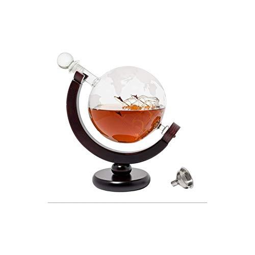 Decantador de vino de cristal hecho a mano, Whiskey Globe Decanter Set Eched World Globe Decanter para licor, Bourbon, Vodka con 2 gafas en caja de regalo premium - Accesorios para bares para hombres