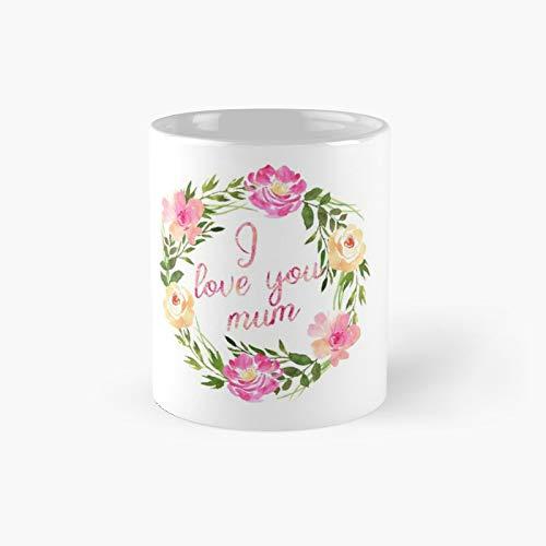 Taza clásica con texto en inglés 'I Love You Mom'