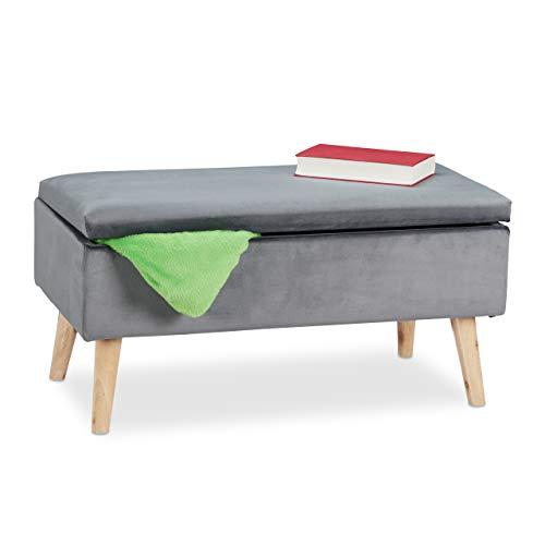 Relaxdays Banco con Espacio de Almacenamiento, tapizado de Terciopelo, 40 L, Patas de Madera, Pasillo, baúl de 2 plazas, 41 x 80 x 40 cm, Color Gris Oscuro