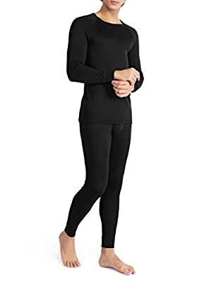 DAVID ARCHY Men's Rib Stretchy Base Layer Fleece Lined Thermal Set Soft Warm Cotton Top & Bottom Long John (M, Black)