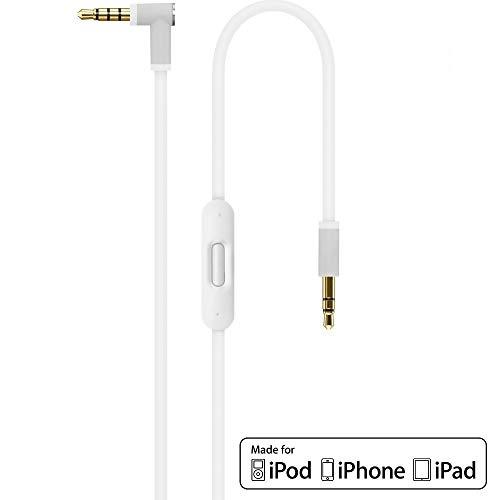 Ersatz Weiß Audio AUX Kabel Verlängerungskabel für Beats by Dr Dre / Monster Kopfhörer mit Inline-Mikrofon Studio | Solo | Wireless | Pro | Mixr - Lautstärkeregler, und Anrufannahme iPhone -3,5mm 1.4m