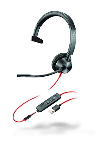 Plantronics - Blackwire 3315 - Wired, Single-Ear (Mono) Headset with Boom Mic, USB-A/3.5mm to Connect to Your PC, Mac, Cell Phone - Works with Teams (Certified), Zoom & More
