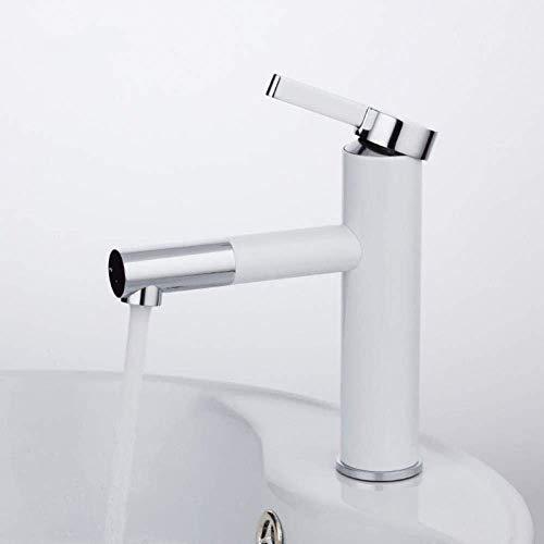 LHQ-HQ Grifo de la cocina grifo de la cuenca del grifo blanco pintura en aerosol baño latón grifo del fregadero del baño grifo frío y caliente grifo con aireador giratorio 360