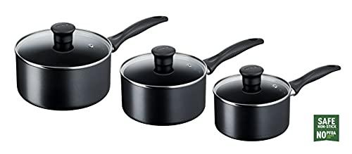 Tefal Induction G155S344 Non-Stick Cookware Set, 3 Pieces-Black Batería de Cocina, Juego, cacerolas, inducción, De Aluminio