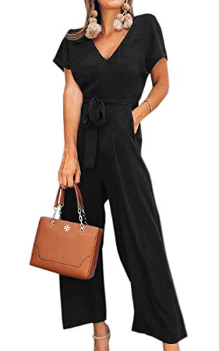 Spec4Y Damen Sommer Lang Jumpsuit V-Ausschnitt Kurzarm Overall Einfarbig Casual Hosenanzug mit Taschen und Gürtel Schwarz XL