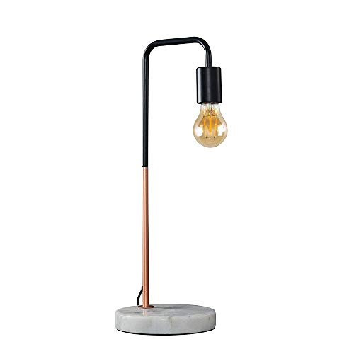 Retro Style Black and Copper Metal Table Lamp with a White Marble Base - Complete with a 4w LED Filament Light Bulb [2700K Warm White]